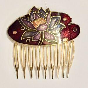 Vintage Cloisonné hair comb barrette